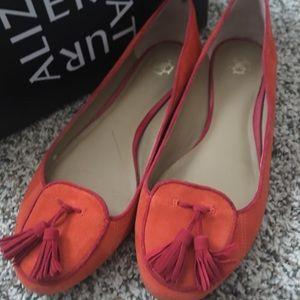 Ann Taylor coral red flats tassels